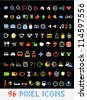 Color pixel style icons collection on black - stock vector