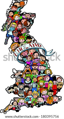 Color Population of England (eps10) - stock vector