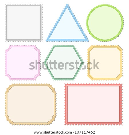 Color Postage Stamps, vector eps10 illustration - stock vector