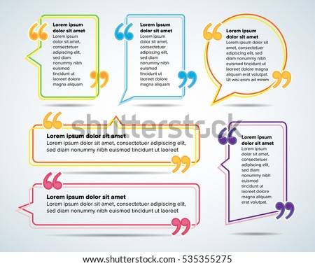 Color Quote Blank Templates Quote Bubble Stock Vector