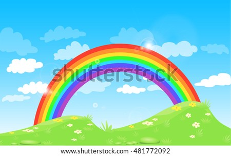 Color Rainbow With Clouds Grass And Flowers, With Gradient blue sky, Vector Illustration