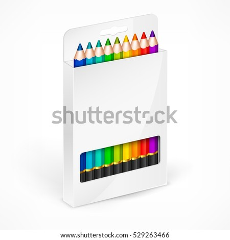 Color rainbow wooden pencils in white box. Set of pencil for school and art. Colored crayons concept. Vector illustration