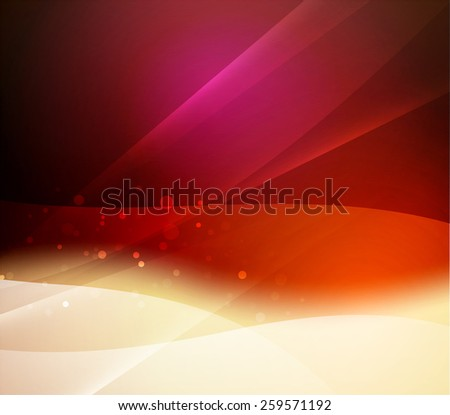 Color red and orange and light, waves and lines. Abstract background - stock vector