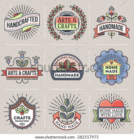 Color retro design insignias logotypes set stock vector for Homemade arts and crafts
