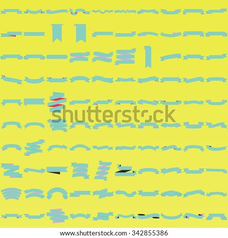 Color ribbon banner collection (vector set of 100 ribbons) - stock vector