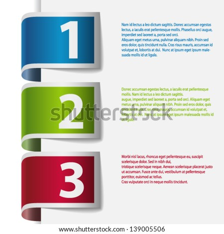 Color ribbons with numbers: one, two and three