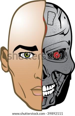 Color Robot Half human...