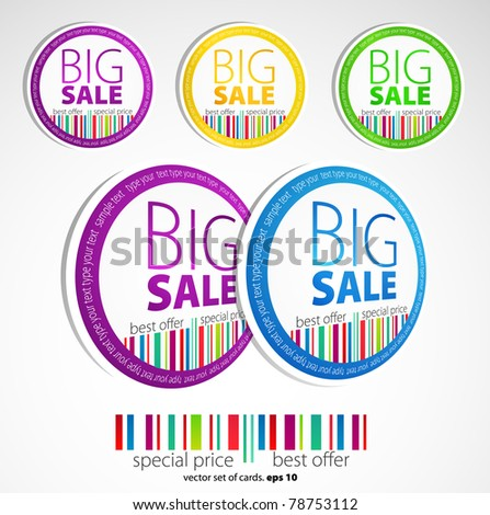 Color sale stickers - stock vector