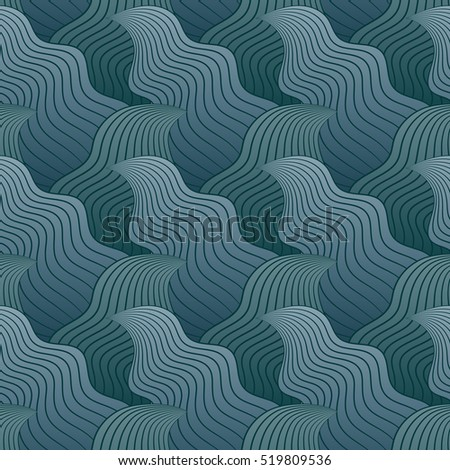Color seamless abstract hand-drawn pattern, waves background. Vector illustration.