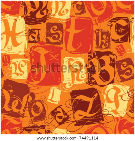 color seamless pattern with gothic letter - stock vector