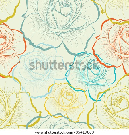 Color seamless pattern with hand drawing roses - stock vector