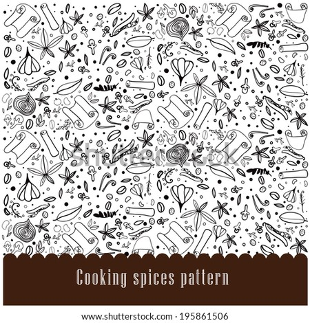 color, seasoning, image, food, spice, backgrounds, pattern, frame, dried, seed - stock vector