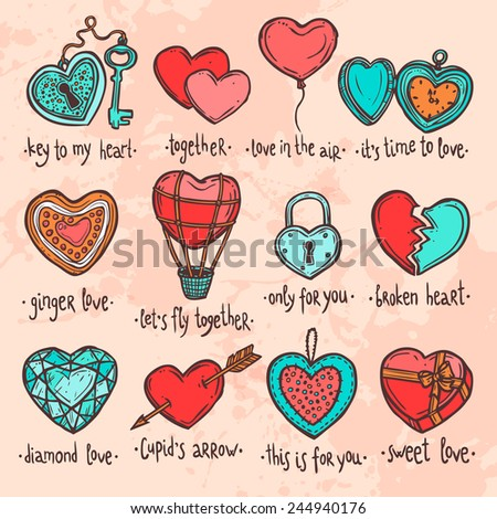 color set of hand drawn valentine hearts, set of objects in the form of heart with funny text - stock vector