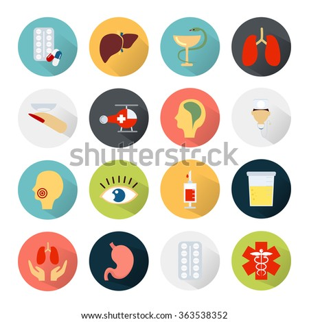 Color set of sixteen medicine icons