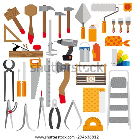 color set of tools. Contains hammers, saw, compasses, brushes, paints, and much more. Flat. White background