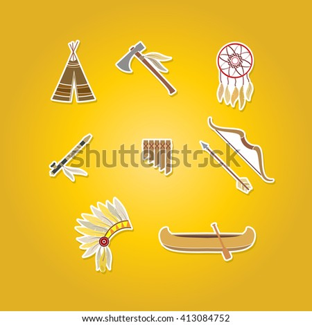 color set with american indian icons for your design - stock vector