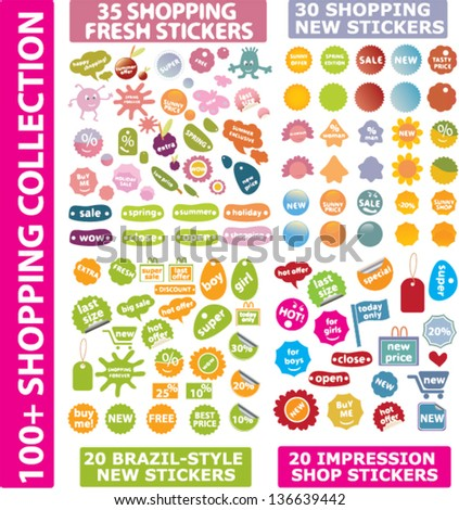 color shopping, advertising, shop, retail, sales stickers, web banners, tags, labels, design templates set, vector - stock vector