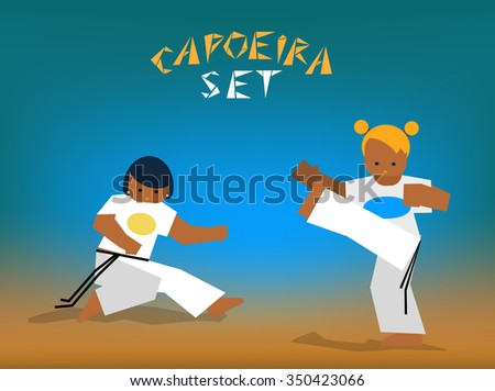 Color silhouettes capoeira fighting. Vector set for design  - stock vector