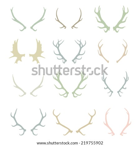 Color silhouettes of deer antlers-vector - stock vector