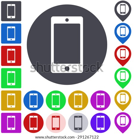 Color smartphone icon, button, symbol set. Square, circle and pin versions. - stock vector