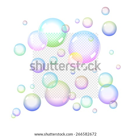Color Soap Bubbles Set with Transparency - stock vector
