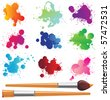 color splashes and paintbrushes - stock photo