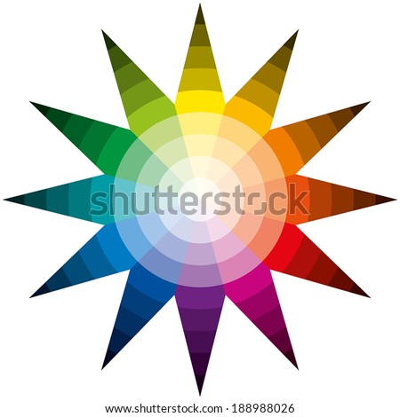 Color Star - Twelve basic colors in a circle, forming a star, graduated from the brightest to the darkest color. Isolated vectors on white background. - stock vector