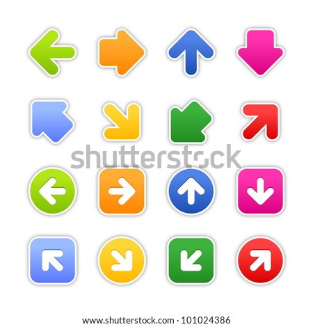 Color stickers arrow sign. Satined shapes with gray drop shadow on white background. This vector illustration design element saved in EPS 10 - stock vector