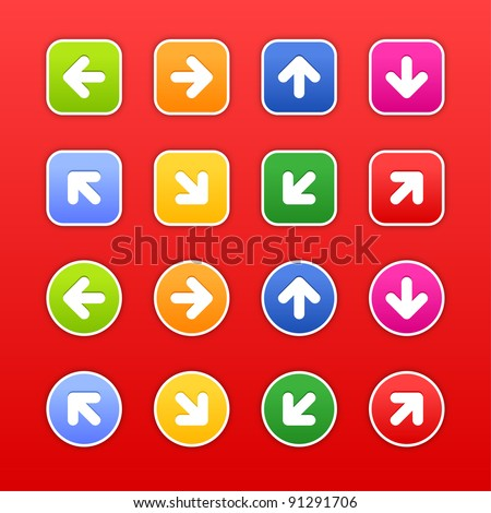 Color stickers with arrow sign. Circles and rounded square shapes with drop shadow on dark red background. This vector illustration saved in 10 eps - stock vector