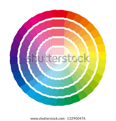 Color swatches in a full circle color wheel. - stock vector