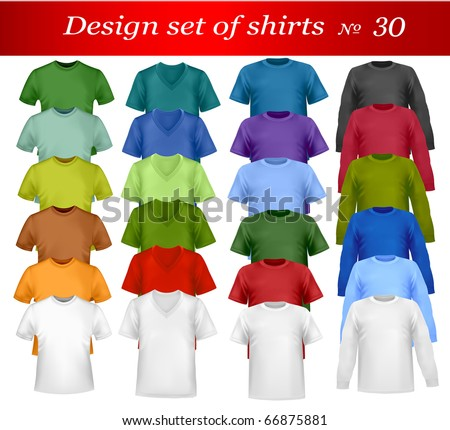 Color t-shirt design template. Photo-realistic vector illustration. - stock vector
