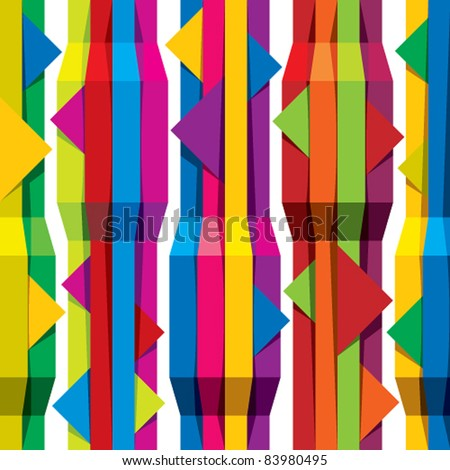 Color tapes seamless pattern, vertical lines with horizontal arrows, vector background for conceptual design projects. - stock vector