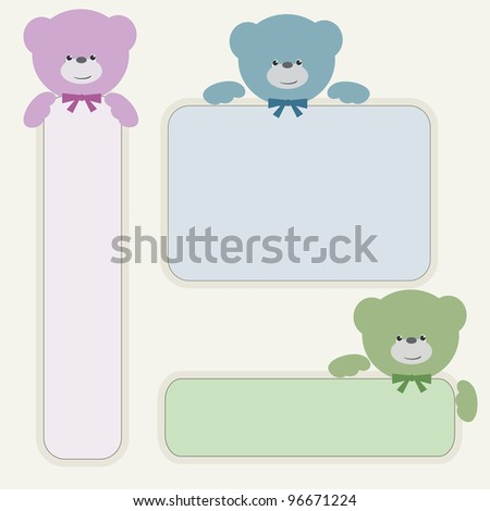 Color teddy bears with banners