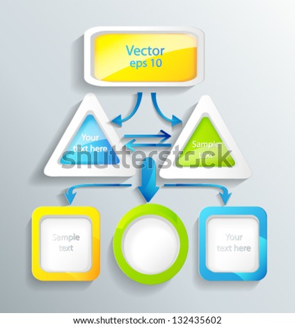 color the block the scheme with shooters consisting of squares, circles and rectangles a vector - stock vector