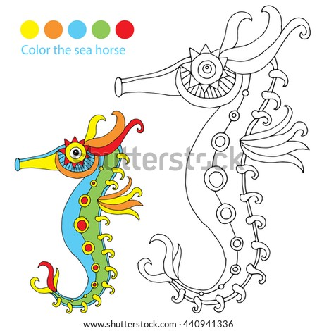 Color the picture - vivid sea horse illustration. Original drawing of an sea horse and colored version as template for coloring  - stock vector