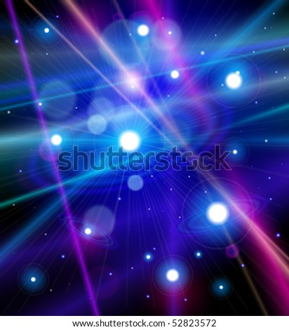 Color the universe - stars, nebulae and the rays of light in space. Vector illustration - stock vector