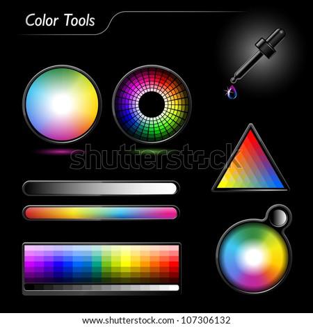 Color tools - stock vector