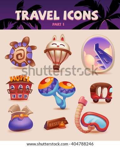 Color travel set icons sketch style. Part 1