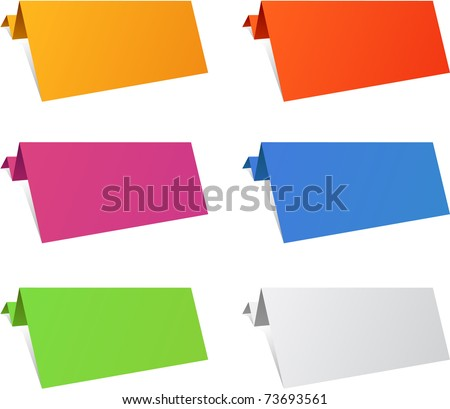 Color variation of paper origami labels. Vector eps8.