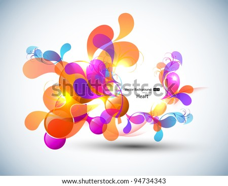 Color Vector Bubbles Banner, Heart Design - stock vector