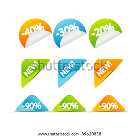 Color vector corner tags and stickers - stock vector