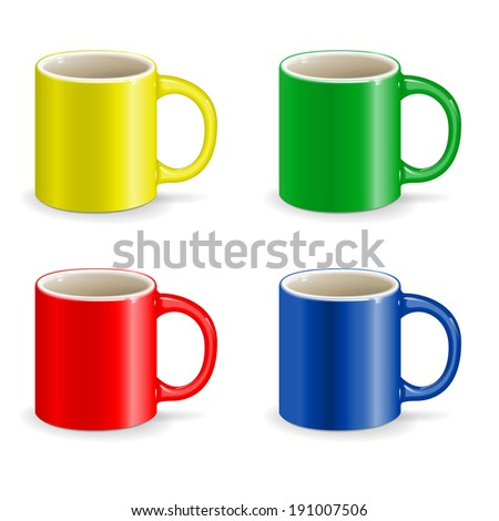 color vector cup object drink ceramic - stock vector
