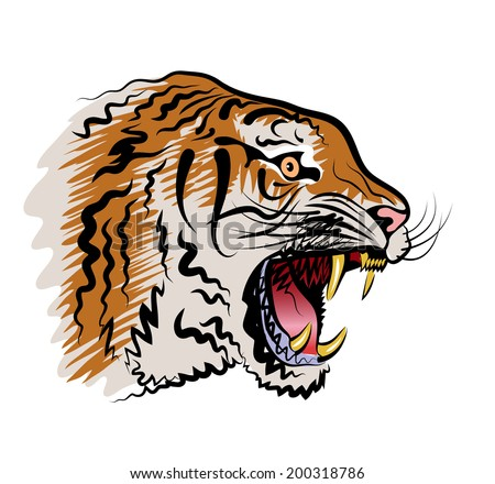Color vector drawing of the head of a tiger with the opened mouth. - stock vector