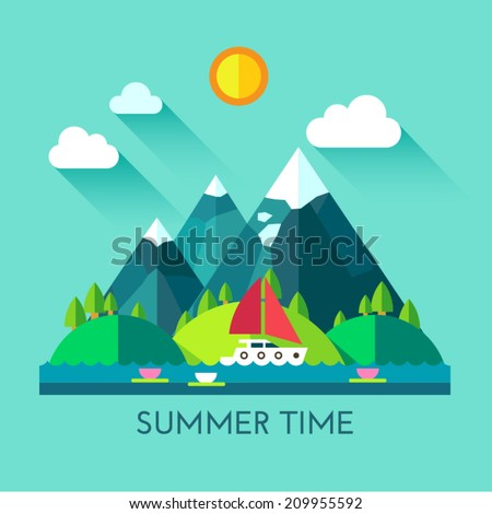 Color vector flat icon set and illustration summer time: village, mountain, sun, clouds, trees nature, river, pond, sea, boat, sail, fishing, walking, fresh air. - stock vector