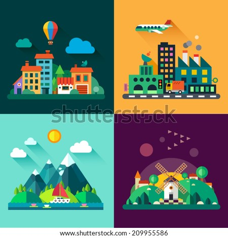 Color vector flat icon set and illustrations urban and village landscapes: nature, mountains, lake, boating, vacation, sun, trees, house, mills, field, city, factory, pollution, cars, skyscrapers