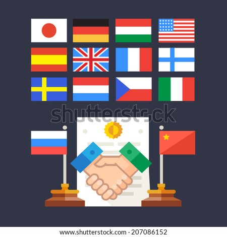 Color vector flat illustration handshake: State cooperation agreement - stock vector