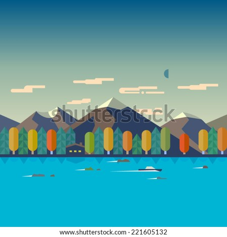 Color vector flat  illustrations autumn landscape. Mountain, river, forest, boat, house - stock vector