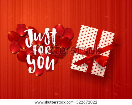 Color vector gift box with hearts, bows and ribbons on red. Hand drawn calligraphy lettering just for you