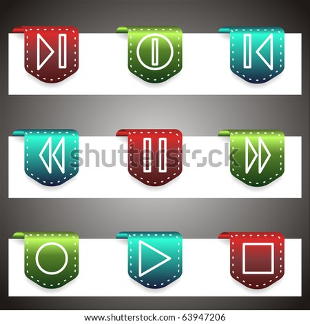 Color vector icons set. Vector navigation template (set 23).