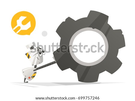 Color vector illustration of cute little robot pushing big gear